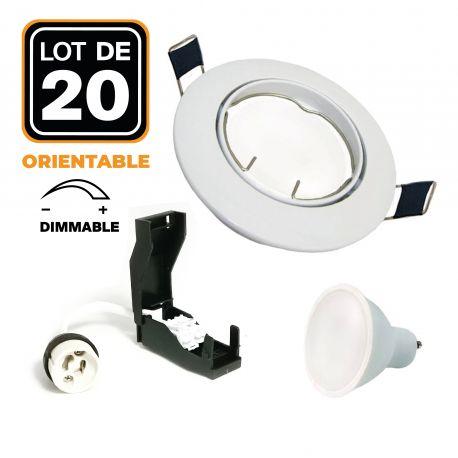20 Spots encastrable orientable BLANC avec GU10 6W Dimmable Blanc Chaud 3000K