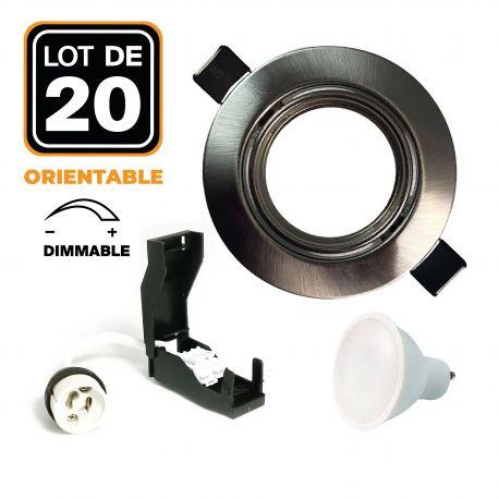 20 Spots encastrable orientable Alu Brossé avec GU10 6W Dimmable Blanc Froid 6000K