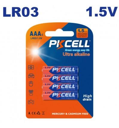4 Piles LR03 Ultra Alcaline PKCell 1.5V