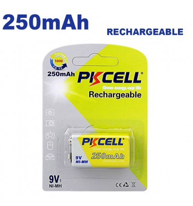 Blister x1 NI-MH Pile Rechargeable 250mAh 9V PKCell