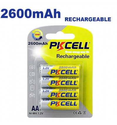 Blister x4 NI-MH Piles Rechargeables AA2600mAh 1.2V PKCell