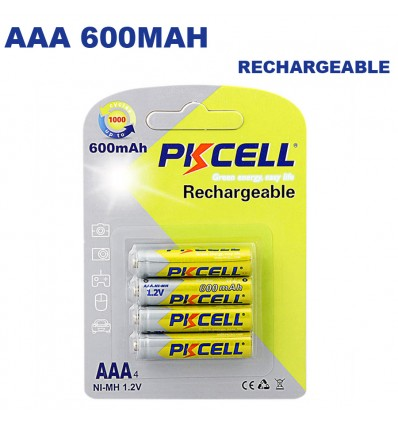 Piles Rechargeables AAA 600mAh 1.2V PKCell