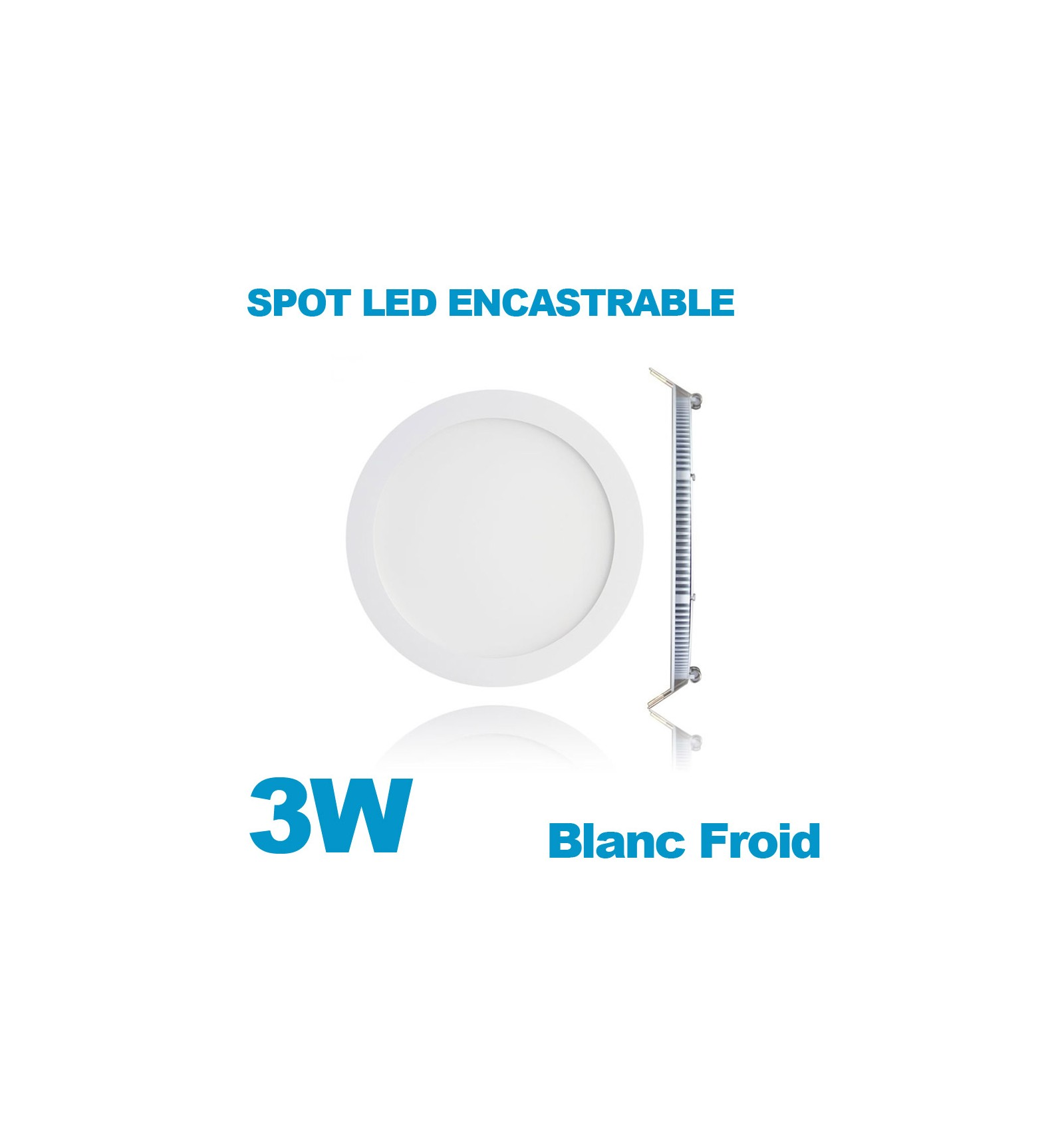 spot encastrable led downlight panel extra plat 3w blanc froid 6000k. Black Bedroom Furniture Sets. Home Design Ideas