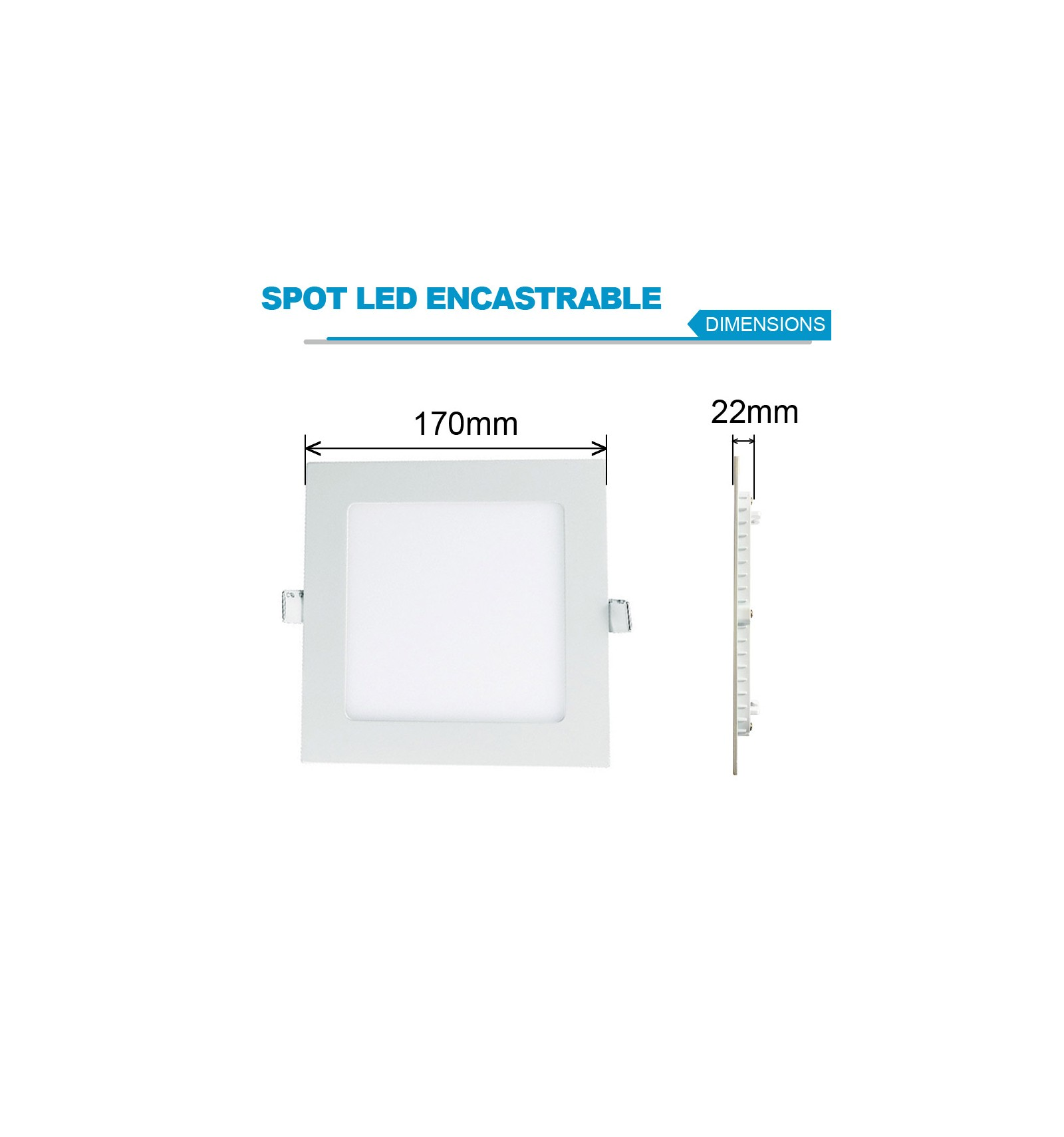 spot encastrable led carre downlight panel extra plat 12w blanc neutre. Black Bedroom Furniture Sets. Home Design Ideas