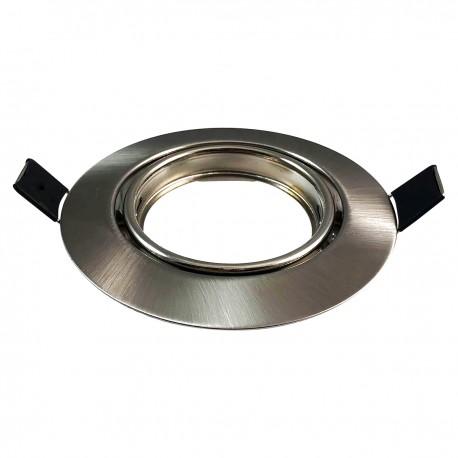 Colerette orientable Inox , Support spot Diametre 90mm trou de perçage 65mm