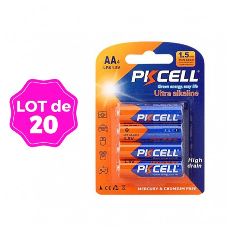 Lot de 40 Piles AA LR6 Ultra Alcaline PKCell 1.5V