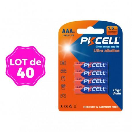Lot de 40 Piles AAA LR03 Ultra Alcaline PKCell 1.5V