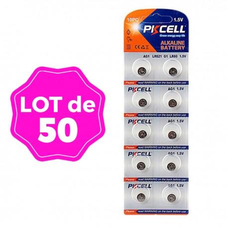 Lot de 50 Piles Bouton AG1 Super Alcaline 1.5V PKCell