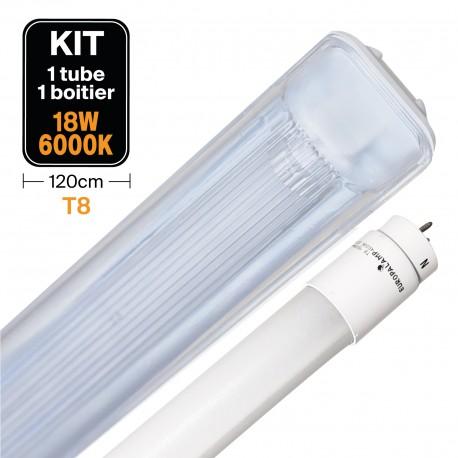 Kit Tube LED T8 18W Blanc Froid + Boitier Etanche 120cm