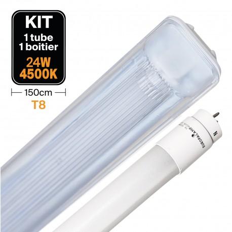 Kit Tube LED T8 23W Blanc Neutre + Boitier Etanche 150cm