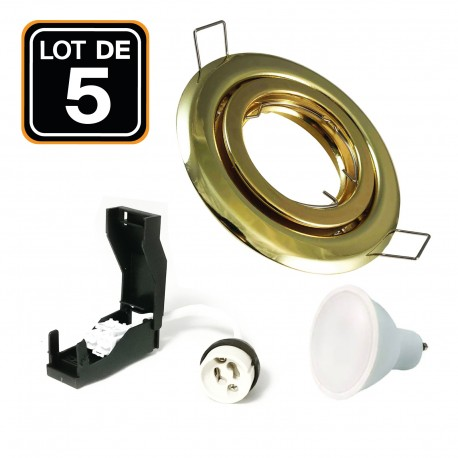 Lot de 5 Spots encastrable orientable DORÉE avec GU10 LED de 7W eqv. 56W Blanc Chaud 2800K