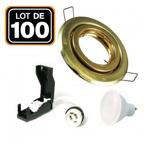 Lot de 100 Spots encastrable orientable DORÉE avec GU10 LED de 7W eqv. 56W Blanc Neutre 4500K