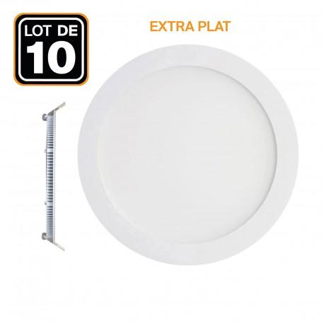 10 Spot Encastrable LED 15W Rond Extra-Plat - Blanc Neutre 4500K