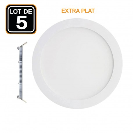 5 Spots Encastrables LED 18W Rond Extra-Plat - Blanc Neutre 4500K