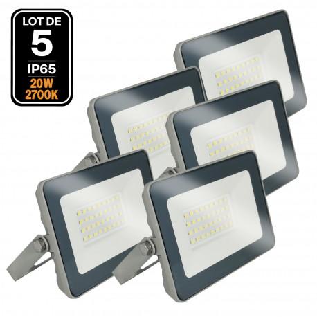 Lot 5 Projecteurs LED 20W ProLine Blanc chaud 2700K Haute Luminosité