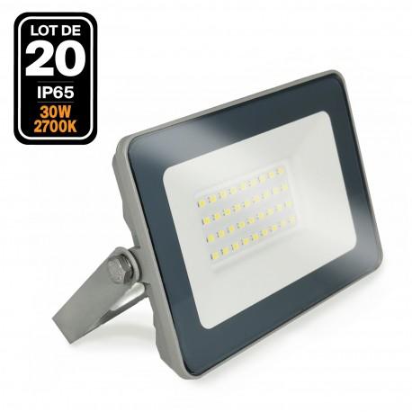 20 Projecteurs LED 30W ProLine Blanc chaud 2700K Haute Luminosité