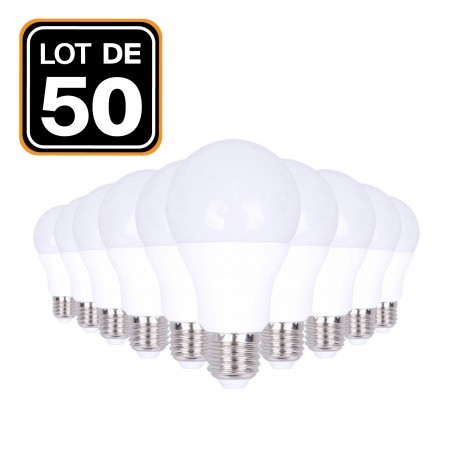 Lot 50 Ampoules LED E27 20W 2700K Blanc Chaud Haute Luminosité