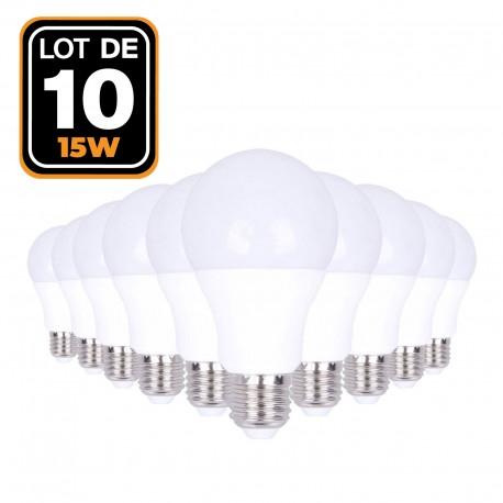 Lot de 10 Ampoules LED E27 15W 6000k Haute Luminosité