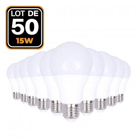 50 Ampoules LED E27 15W Blanc chaud 2700K Haute Luminosité
