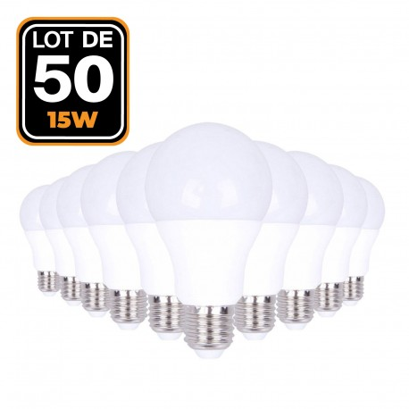 50 Ampoules LED E27 15W Blanc neutre 4500K Haute Luminosité
