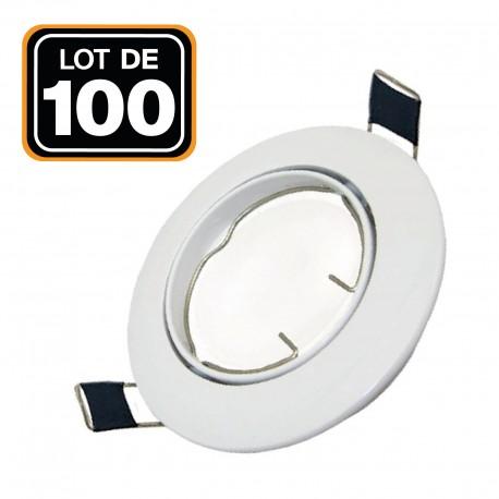 Lot de 100 Support Spot LED Orientable Rond D90 Blanc