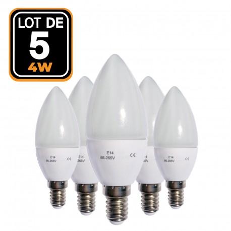 Set of 5 LED flame E14 4W 220V 4500 k