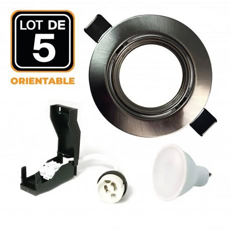 5 Spots encastrable orientable Alu Brossé avec GU10 LED de 7W eqv. 56W Blanc Neutre 4500K
