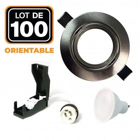 Lot de 100 Spots encastrable orientable INOX avec GU10 LED de 7W eqv. 56W Blanc Chaud 2800K