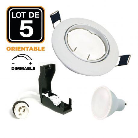 5 Spot encastrable orientable BLANC avec GU10 LED de 6W Dimmable Blanc Chaud 3000K