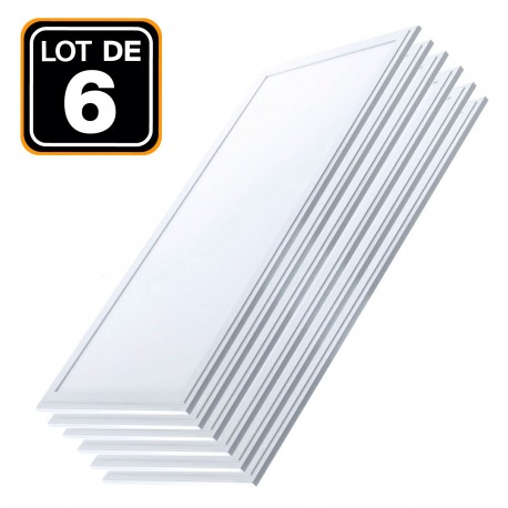 Lot 6 Dalles LED 40W 120x30 Blanc Foid 6000k