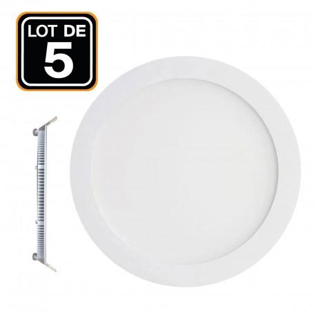 5 Spots Encastrables LED 18W Rond Extra-Plat - Blanc Froid 6000K