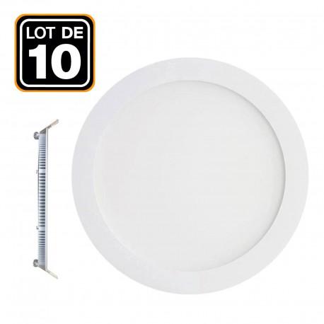 10 Spot Encastrable LED Rond Extra-Plat 18W - Blanc Chaud 2700K