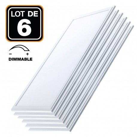 Lot 6 Dalles LED 40W 120x30 DIMMABLE Blanc Foid 6000k