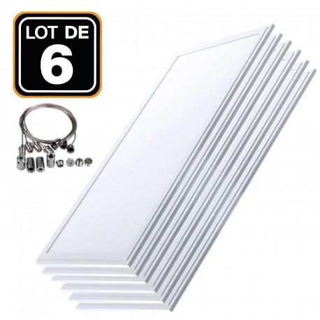 Lot 6 Dalles LED 40W 120x30 PMMA Blanc Froid 6000k + Kit Câbles de Suspension