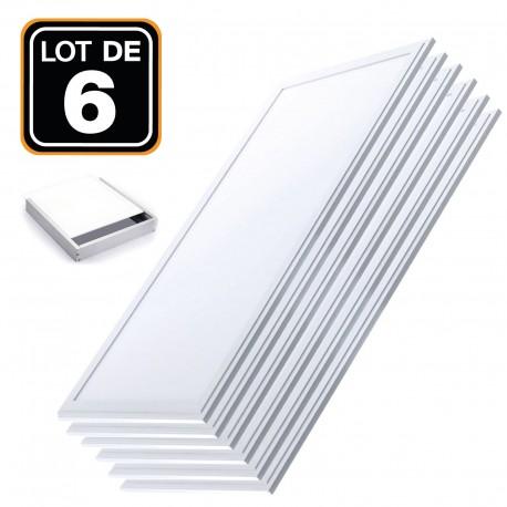 Lot 6 Dalles LED 40W 120x30 Blanc Froid 6000k + Kit de pose en saillie