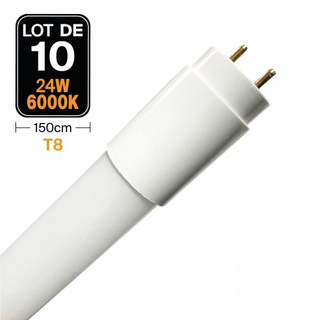 Lot de 10 Tubes Neon LED 24W 150cm T8 Glass Blanc Froid 6000k