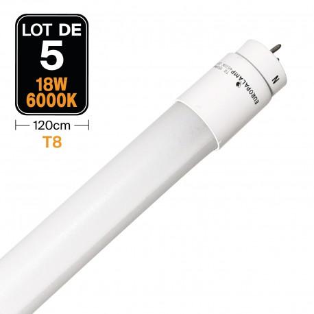 Lot de 5 Tubes Neon LED 18W 120cm T8 Glass Blanc Neutre 4500k