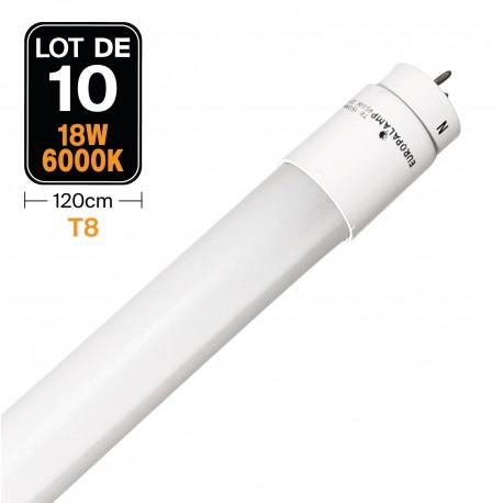 Lot de 10 Tubes Neon LED 18W 120cm T8 Glass Blanc Neutre 4500k