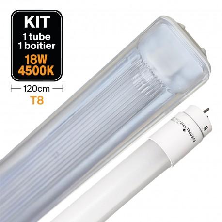 Kit Tube LED T8 18W + Boitier Etanche 120cm