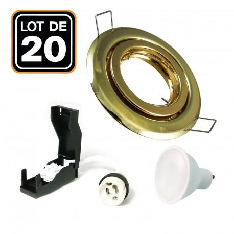 20 Spots encastrable orientable DORÉE avec GU10 LED de 5W eqv. 40W Blanc Froid 6000K