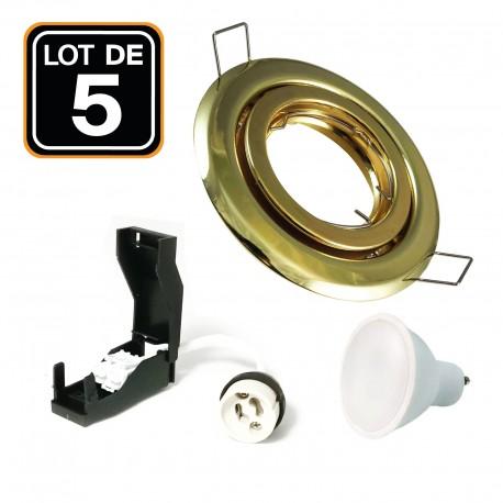 Lot de 5 Spots encastrable orientable DORÉE avec GU10 LED de 7W eqv. 56W Blanc Neutre 4500K