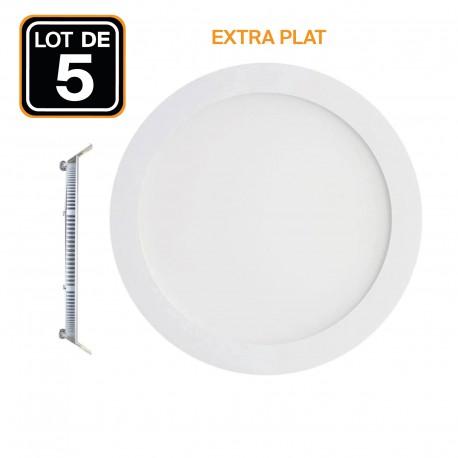 Lot de 5 Spots Encastrable LED Downlight Panel Extra-Plat 3W Blanc Neutre 4500K