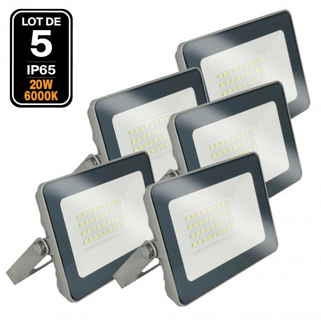 Lot 5 Projecteurs LED 20W ProLine Blanc froid 6000K Haute Luminosité