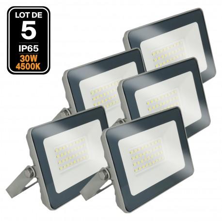 5 Projecteurs LED 30W ProLine Blanc neutre 4500K Haute Luminosité
