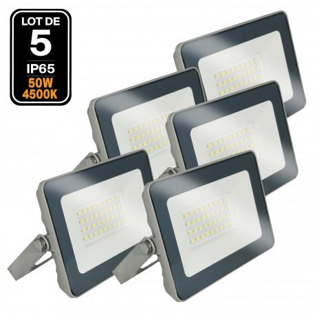 5 Projecteurs LED 50W ProLine Blanc neutre 4500K Haute Luminosité