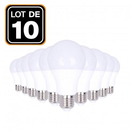 Lot 10 Ampoules LED E27 20W 2700K Blanc Chaud Haute Luminosité
