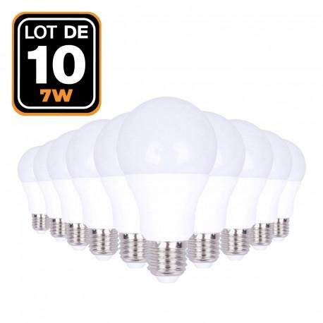 Lot de 10 Ampoules LED E27 Puissance 7W Blanc Froid