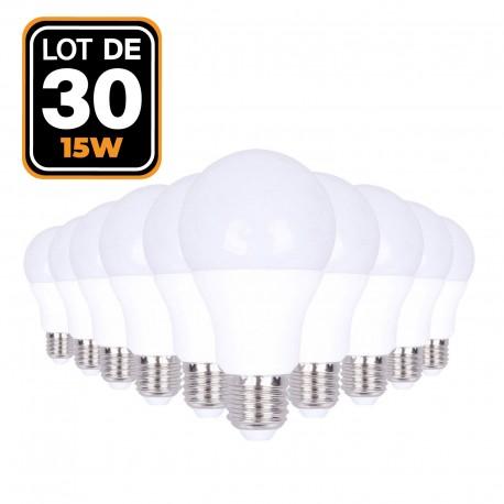30 Ampoules LED E27 15W Blanc chaud 2700K Haute Luminosité
