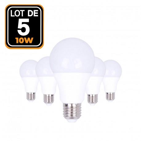 5 ampoules LED E27 A60 10W 220V 3000K blanc chaud Haute Luminosité