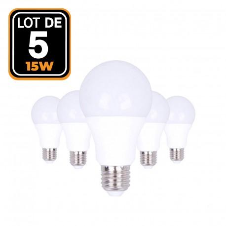 5 ampoules LED E27 A60 15W 220V 6000K blanc froid Haute Luminosité